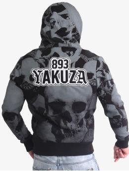 Yakuza Zip Hoodie Allover Skull Teddy svart