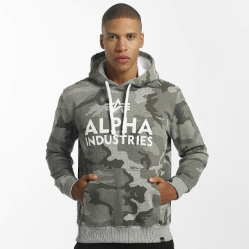 Alpha Industries Hoodies Foam Print šedá