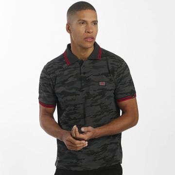 Alpha Industries Poloshirt Twin Stripe Camo black