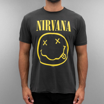 Amplified T-paidat Nirvana Smiley Face harmaa