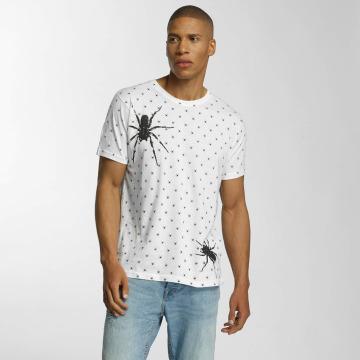 Brave Soul T-shirt All Over Spider Print bianco
