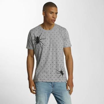 Brave Soul T-shirt All Over Spider Print grå
