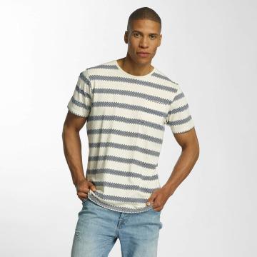 Brave Soul T-shirts Jacquard Stripe Crew Neck beige