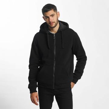 Brave Soul Zip Hoodie Sherpa Lined svart