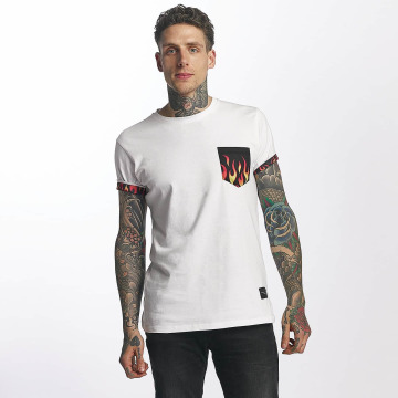 Criminal Damage T-Shirt Flame Pocket blanc
