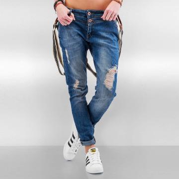DEF Jean Boyfriend Suspenders bleu