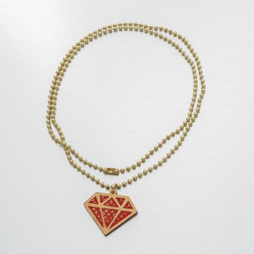 Good Wood NYC Necklace NYC Micro Diamond Mono red