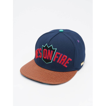 Hands of Gold Snapback Cap On Fire blu