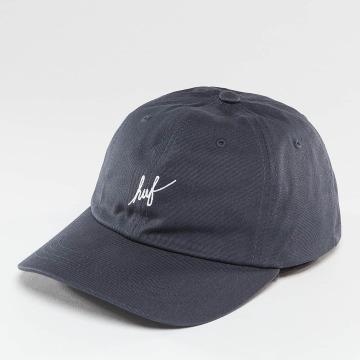 HUF Casquette Snapback & Strapback Script Logo Curve Brim bleu