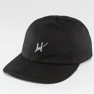 HUF Snapback Cap Script Logo Curve Brim schwarz