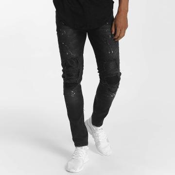 John H Jeans ajustado Diagonal Splatters negro