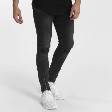 John H Skinny Jeans Destroyed šedá