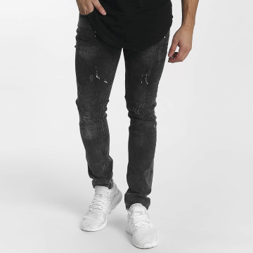 John H Slim Fit Jeans Diagonal Splatters čern