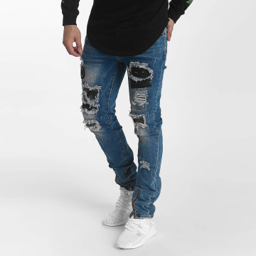 John H Straight fit jeans Star Destroyed blauw