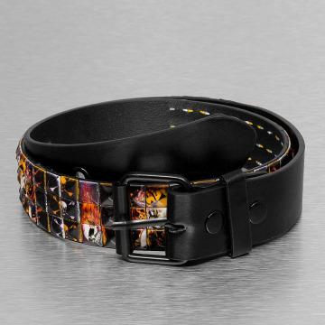 Kaiser Jewelry riem 3 Row Skull zwart