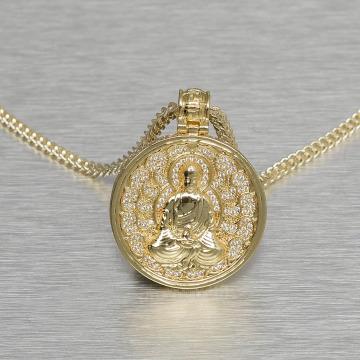 KING ICE Łańcuchy Buddhist Medallion zloty