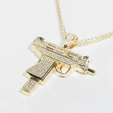 KING ICE Łańcuchy Gold_Plated CZ Uzi zloty