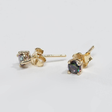 KING ICE Серьга ICE Gold_Plated  4mm 925 Sterling_Silver CZ золото