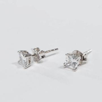 KING ICE Серьга ICE Rhodium_Plated 4mm 925 Sterling_Silver CZ Princess Cut серебро