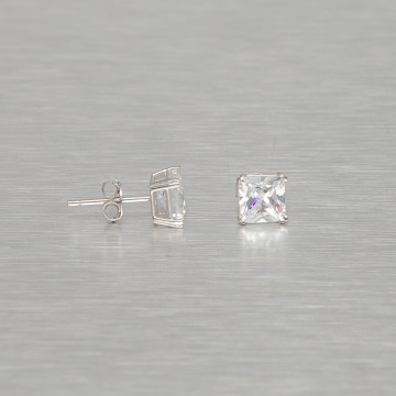 KING ICE Boucles d'oreilles Rhodium_Plated 6mm 925 Sterling_Silver Princess Cut argent