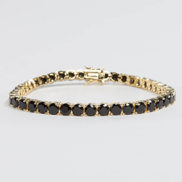 KING ICE Bracciale Gold_Plated 5mm Single Row CZ Pharaoh oro
