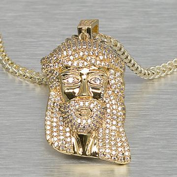 KING ICE Cadena Small Solid Jesus oro