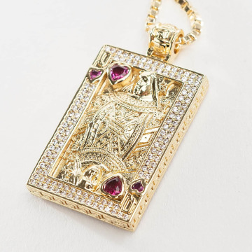 KING ICE Cadena Gold_Plated CZ Suicide King oro