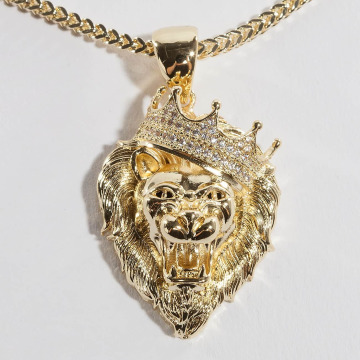 KING ICE Collana Gold_Plated CZ Roaring Lion oro