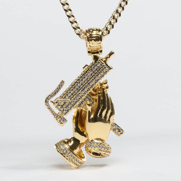KING ICE Collier Gold_Plated CZ Praying Hands Of Defense or