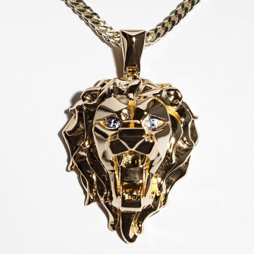 KING ICE Collier EMPIRE FOX Gold_Plated Faceted Lion or