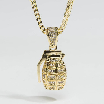 KING ICE Collier Gold_Plated CZ Hand Grenade or