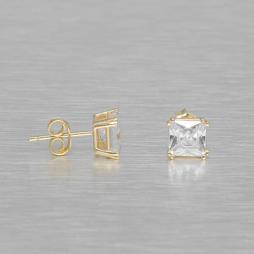 KING ICE Earring Gold_Plated 6mm 925 Sterling_Silver Princess Cut gold colored