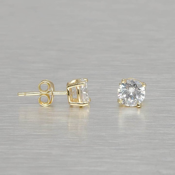 KING ICE Earring Gold_Plated 6mm 925 Sterling_Silver Round Cut gold colored