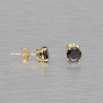 KING ICE Earring Gold_Plated 6mm 925 Sterling_Silver CZ Black gold colored
