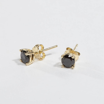 KING ICE Earring Gold_Plated 4mm 925 Sterling_Silver CZ gold colored