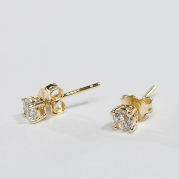 KING ICE Earring ICE Gold_Plated 4mm 925 Sterling_Silver CZ gold colored