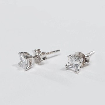 KING ICE Earring ICE Rhodium_Plated 4mm 925 Sterling_Silver CZ Princess Cut silver colored
