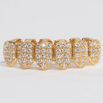 KING ICE Gadget Gold_Plated CZ Studded Teeth Bottom oro