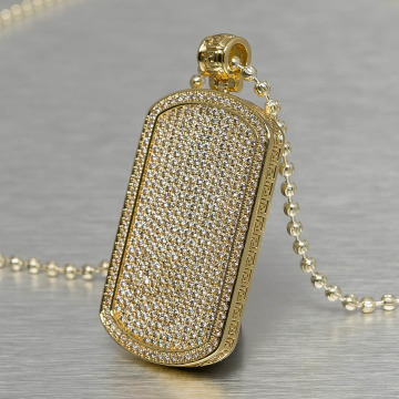 KING ICE Kette Jungl Julz Dog Tag goldfarben