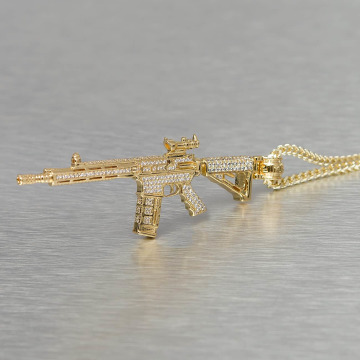 KING ICE Kette Gold_Plated CZ Studded M4 Long Range Assault Rifle goldfarben
