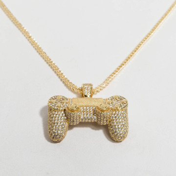 KING ICE ketting Gold_Plated CZ Pro Gamer Controller goud