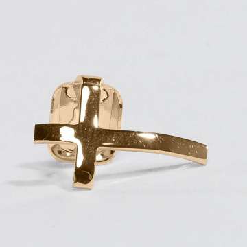 KING ICE More Gold_Plated Cross Single Tooth Cap Top gold colored