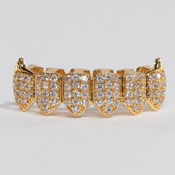 KING ICE More Gold_Plated CZ Dracula Teeth Bottom gold colored