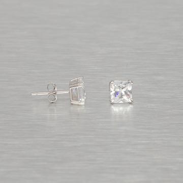 KING ICE Náušnice Rhodium_Plated 6mm 925 Sterling_Silver Princess Cut strieborná