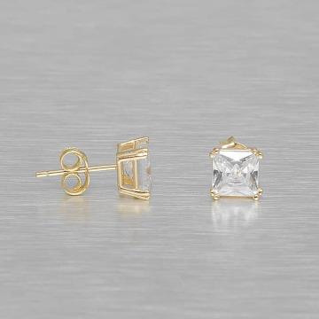 KING ICE Náušnice Gold_Plated 6mm 925 Sterling_Silver Princess Cut zlatá