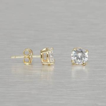 KING ICE Náušnice Gold_Plated 6mm 925 Sterling_Silver Round Cut zlatá