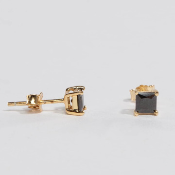 KING ICE Náušnice Gold_Plated 4mm 925 Sterling_Silver CZ Princess Cut zlatá