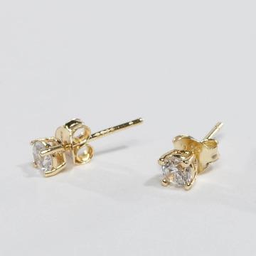 KING ICE Náušnice ICE Gold_Plated 4mm 925 Sterling_Silver CZ zlatá