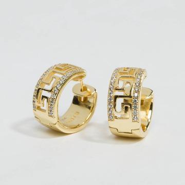 KING ICE Náušnice Gold_Plated 925 Sterling_Silver CZ Greek Key Hoop zlatá