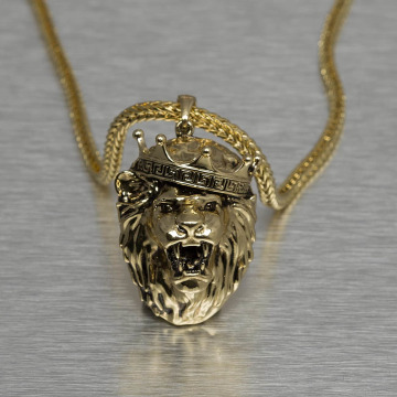 KING ICE Necklace King Lion Crown gold